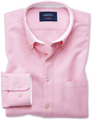 Charles Tyrwhitt Extra Slim Fit Button-Down Washed Oxford Plain Light Pink Cotton Casual Shirt Single Cuff Size Medium