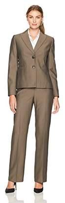 Le Suit LeSuit Women's Mini Herringbone 2 Button Notch Lapel Pant Suit