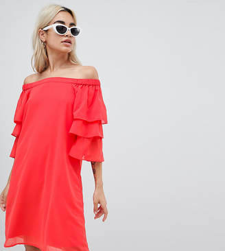 Vero Moda Petite off shoulder mini dress with tiered sleeve in red