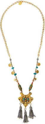 Devon Leigh Amber, Jasper & Wood Pendant Necklace