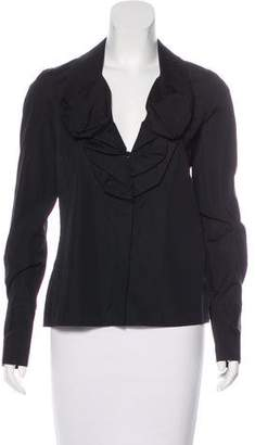 Givenchy Long Sleeve Ruffle-Accented Blouse