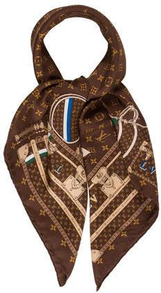Louis VuittonLouis Vuitton Monogram Trunks Silk Scarf