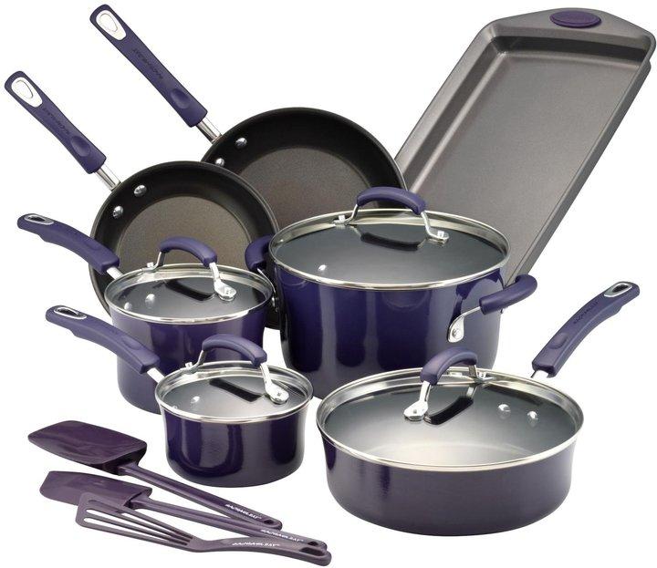 Rachael Ray Hard Porcelain Enamel Nonstick Cookware Set - Fennel Gradient - 14 pc