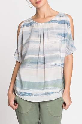 Nic+Zoe Nic + Zoe Watercolor Cold-Shoulder Top