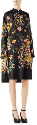 Gucci Floral Print Silk Shirtdress
