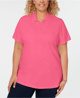 Karen Scott Plus Size Cotton Polo Top