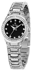 Bulova Ladies Crystal Accented Black Dial Brace