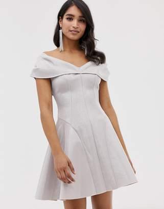 Asos Design DESIGN Bonded Glitter Mini Skater Dress