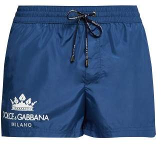 Dolce & Gabbana Logo Print Swim Shorts - Mens - Blue