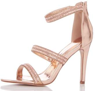 Quiz Rose Gold Diamante Triple Strap Heeled Sandals