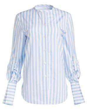 Oscar de la Renta Vented French Cuff Cotton Blouse
