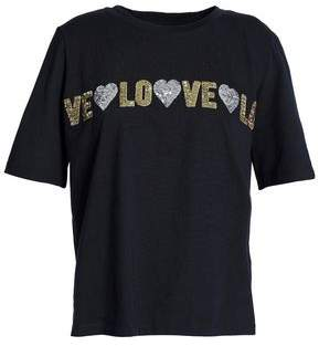 Maje Sequin-Embellished Cotton-Jersey T-Shirt