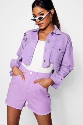 boohoo Lilac Distressed Cropped Denim Jacket