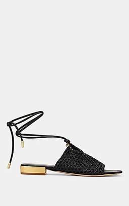 6a8ebcbd3c6 Salvatore Ferragamo Women s Woven Leather Ankle-Tie Sandals - Black