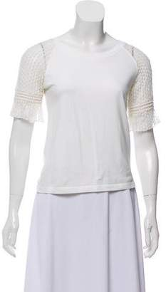 See by Chloe Crochet-Accented Short Sleeve Top