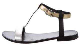 Saint Laurent Metallic-Accented T-Strap Sandals