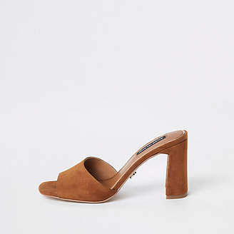 River Island Brown suede heel mule sandals