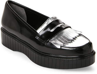Robert Clergerie Black & Silver Pastek Leather Penny Loafers
