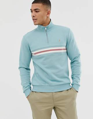 Farah Leeds half zip stripe sweat in blue