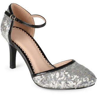 Brinley Co. Women's Sequin Faux Leather Piping Mary Janes