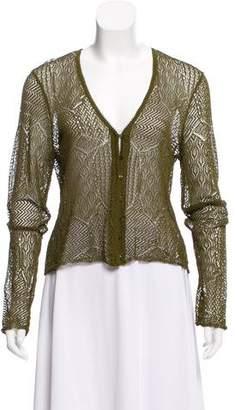 Christian Dior Open-Knit Long Sleeve Cardigan