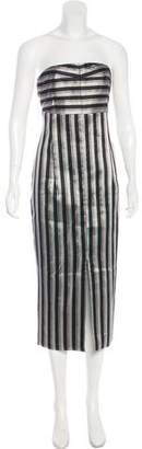 Metallic Striped Woven Midi Dress - Silver Protagonist uT8fHCHOs