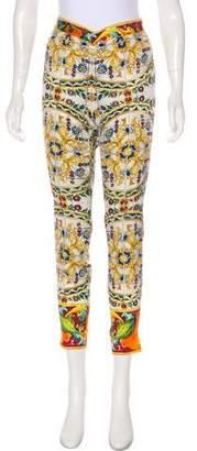 Dolce & Gabbana Silk Sicilian Mid-Rise Pants