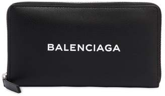 Balenciaga Zip Round Leather Wallet