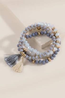 francesca's Bria Beaded Bracelet Set - Gray