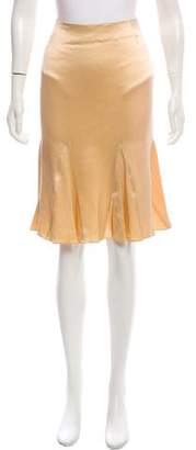 John Galliano Satin Knee-Length Skirt