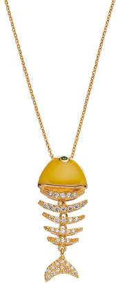 Sophie Miller 14k Gold Plated Cubic Zirconia & Simulated Emerald Fish Pendant