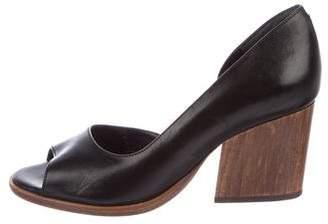 Robert Clergerie Leather Peep-Toe Pumps