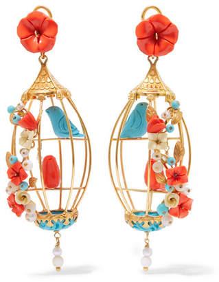 Of Rare Origin - Lovebirds Gold Vermeil Multi-stone Earrings