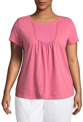 Liz Claiborne Short Sleeve Crew Neck Slubbed Blouse-Tall