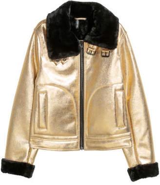 H&M Faux Fur-lined Jacket - Gold