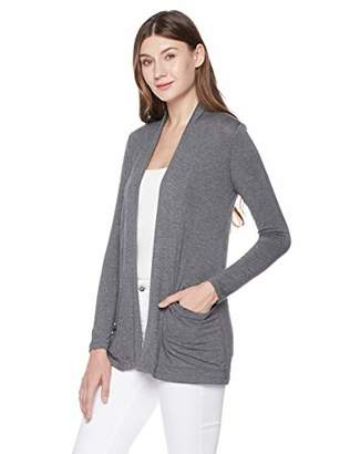 Plumberry Women' s Open Front Lightweight Long Sleeve Drape Cardigan with Pocket L