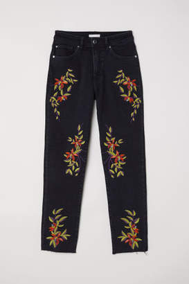 H&M Jeans with Embroidery - Black