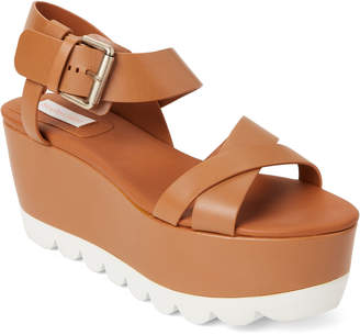 See by Chloe Cognac Leather Platform Wedge Sandals