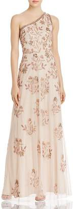 Adrianna Papell Beaded Floral One-Shoulder Gown