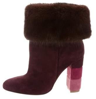 Salvatore Ferragamo Mink Fur-Trimmed Ankle Boots