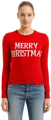 Alberta Ferretti Slim Merry Christmas Wool Blend Sweater