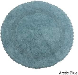 "Saffron Fabs Bath Rug 36"" Round Reversible Hand Woven Crochet Lace Border, Assorted Colors"