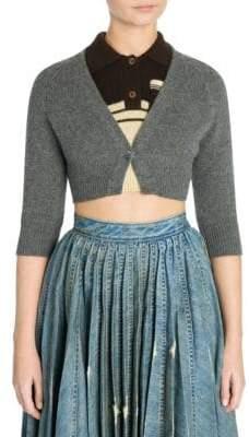 Miu Miu Women's Cashmere Cropped Cardigan - Grey - Size 46 (12)