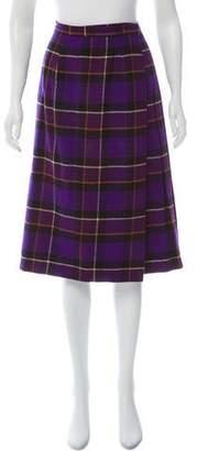 Saint Laurent Plaid Wrap Skirt