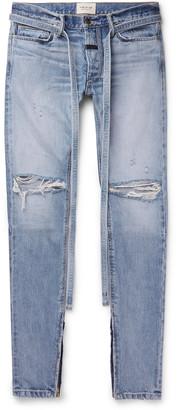 Fear Of God Slim-Fit Tapered Belted Distressed Selvedge Denim Jeans - Men - Blue