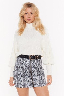 Nasty Gal Womens Let'S Get Knit Puff Sleeve Jumper - White - 4, White