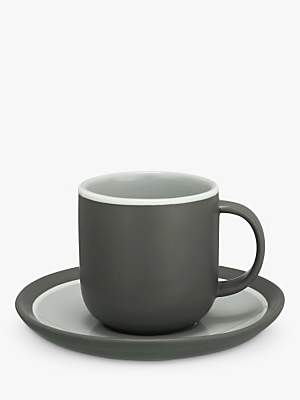 John Lewis Puritan Curved Espresso Cup & Saucer, Grey