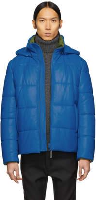 Yves Salomon Blue Leather Jacket