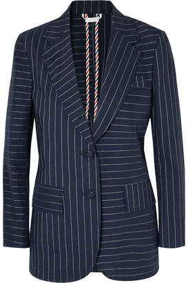 Thom Browne Pinstriped Cotton Blazer - Navy