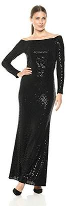 Cachet Women's Off Shoulder Sequin Long Sleeve Gown